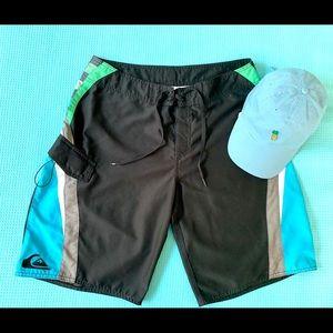 QUIKSILVER Turquoise Black Board Shorts Blue Hat